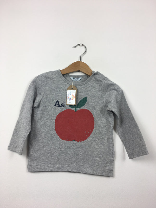 0516368e7 Grey Apple Print T-Shirt (12-18 Months)