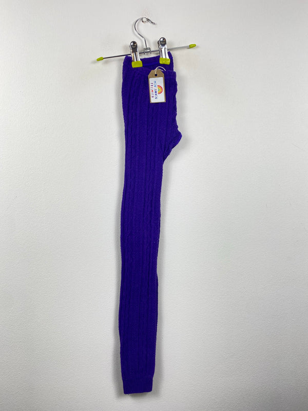 Cadbury Purple Cable Knit Footless Tights (9-10 Years)