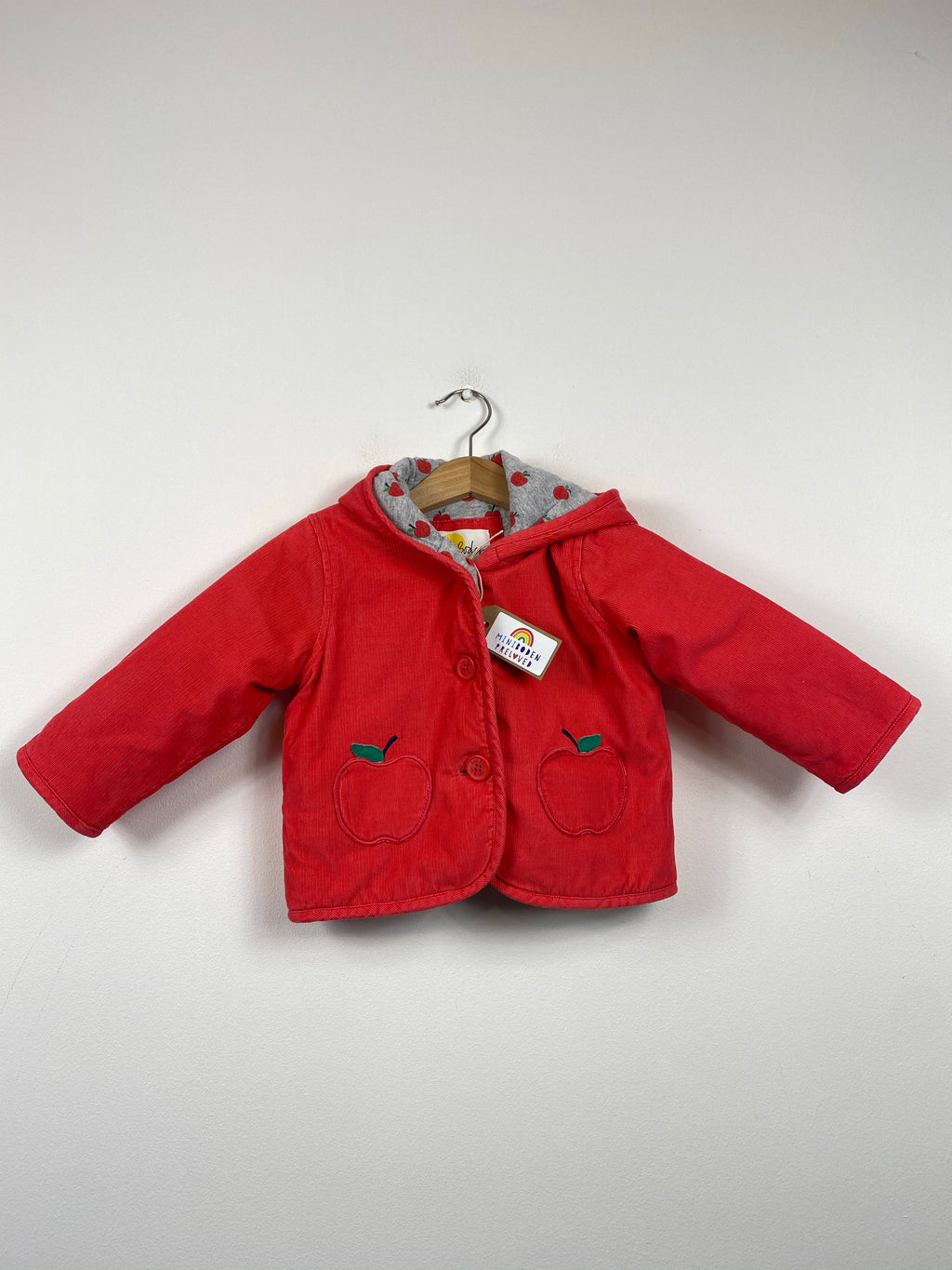 Apple Pockets Red Needle-Cord Jacket (6-12 Months)