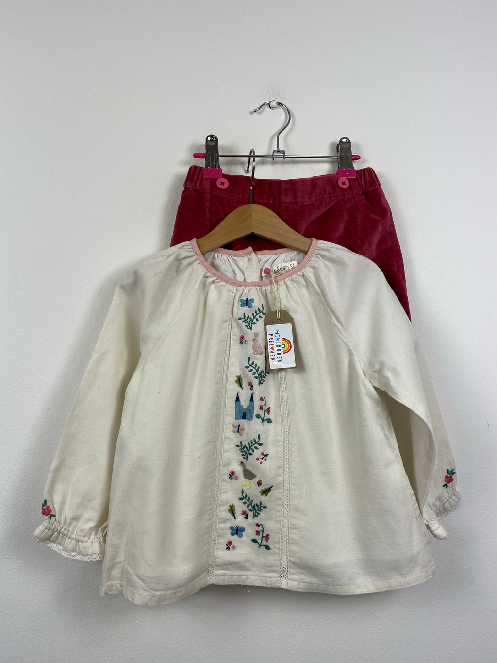 Embroidered Fairy tale Blouse & Velvet Shorts Set (3-4 Years)