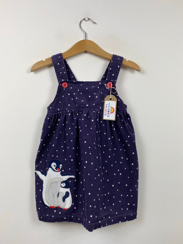Navy Applique Penguin Christmas Cord Pinny (6-12 Months)