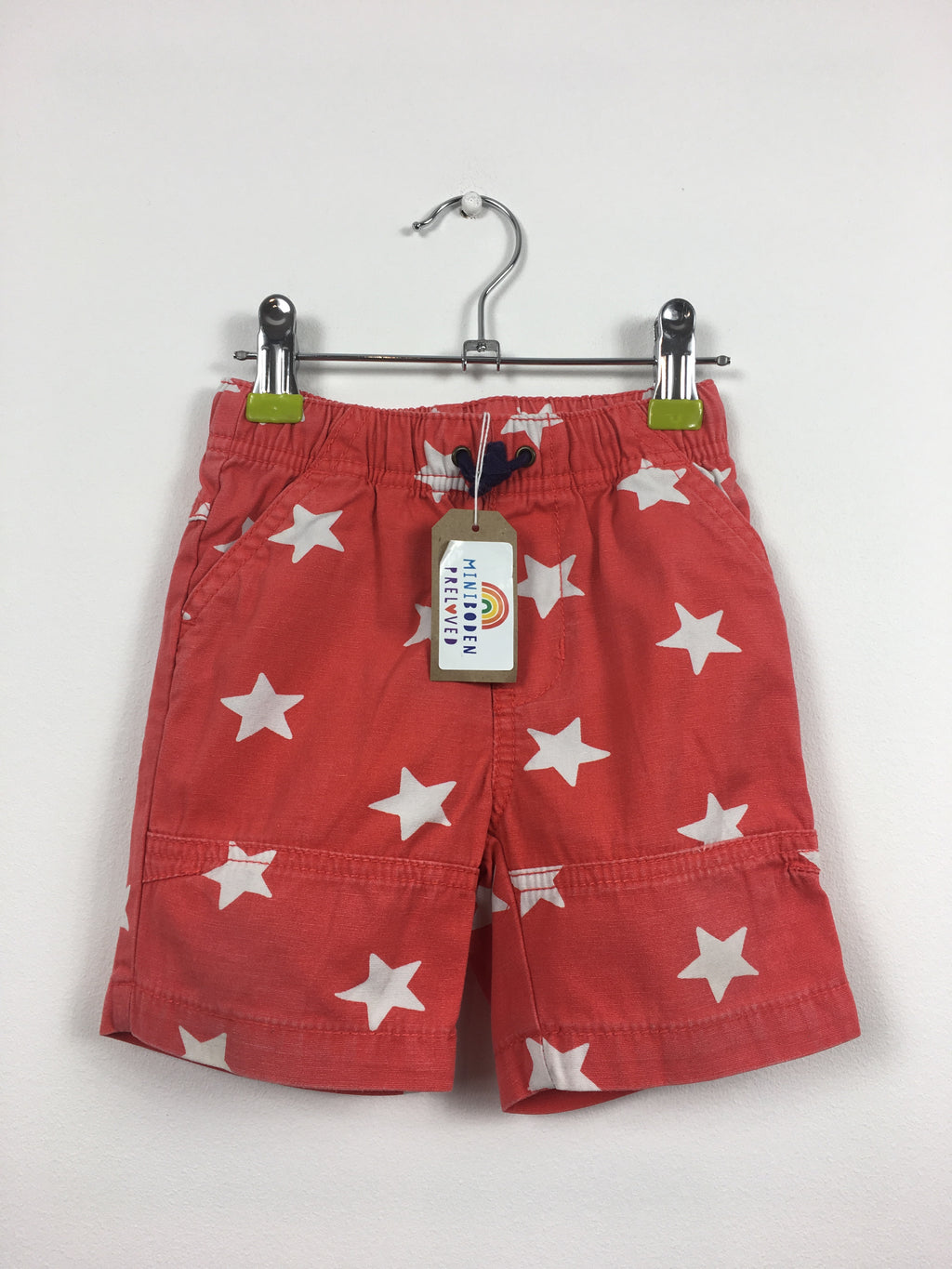 Red Star Print Cotton Shorts (6-12 Months)