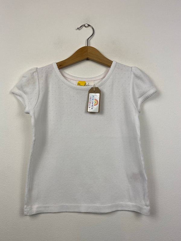 White Short Sleeved Pointelle Top (5-6 Years)
