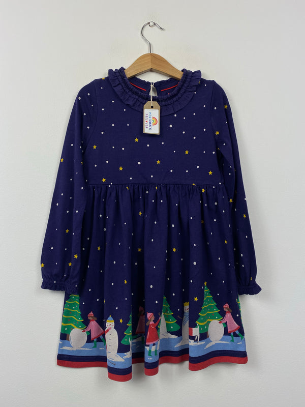 Beautiful Navy Star Patterned Snowman Dress (5-6 Years)