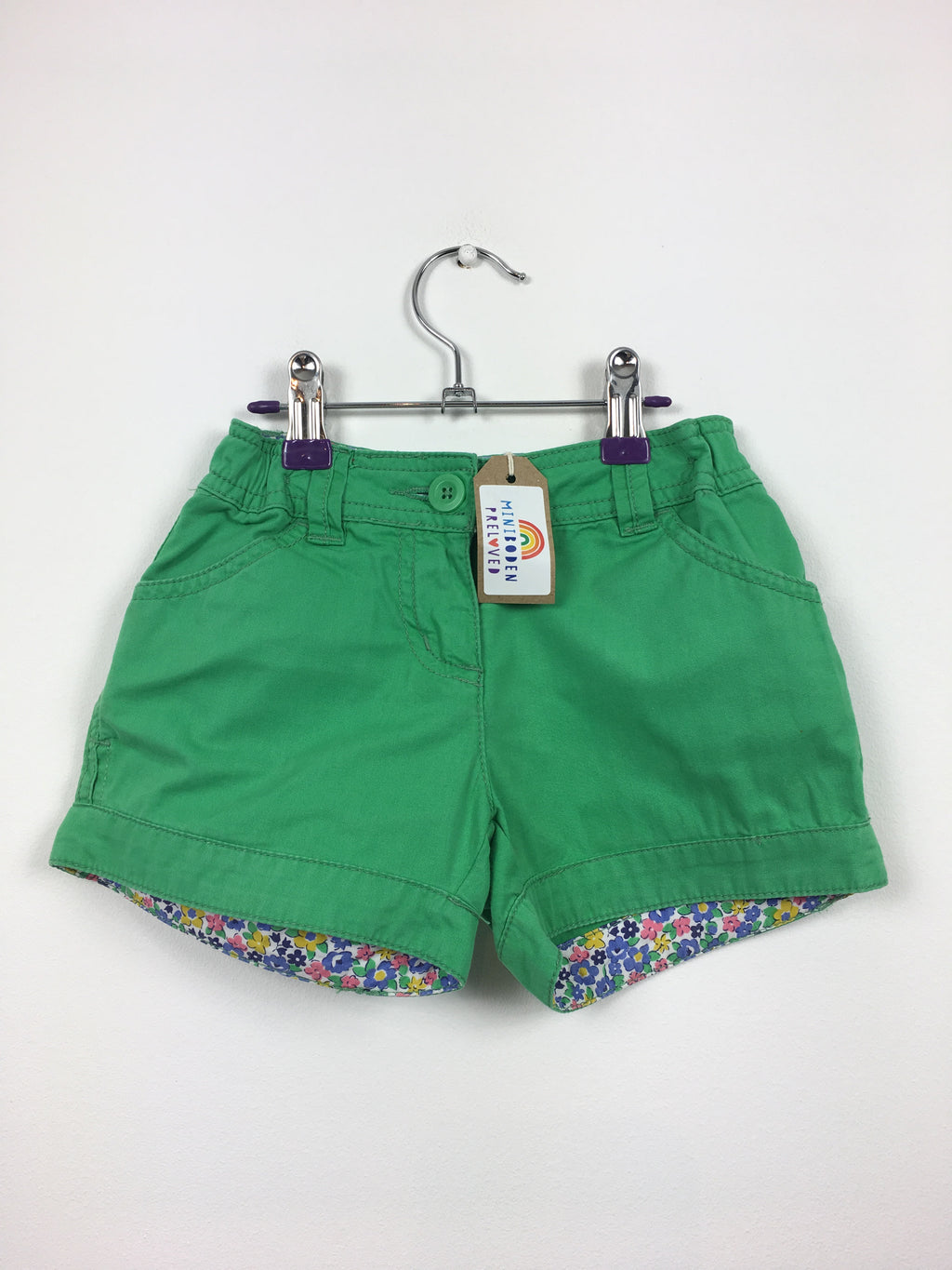 Green Laundered Shorts With Floral Lining (5 Years)