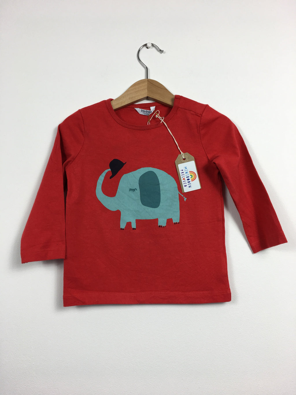 Elephant Print Red Top (Age 12-18 Months)