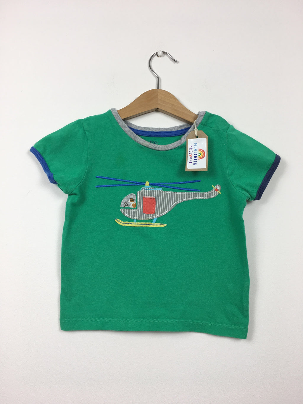 Appliqué Helicopter Green T-Shirt (2-3 Years)