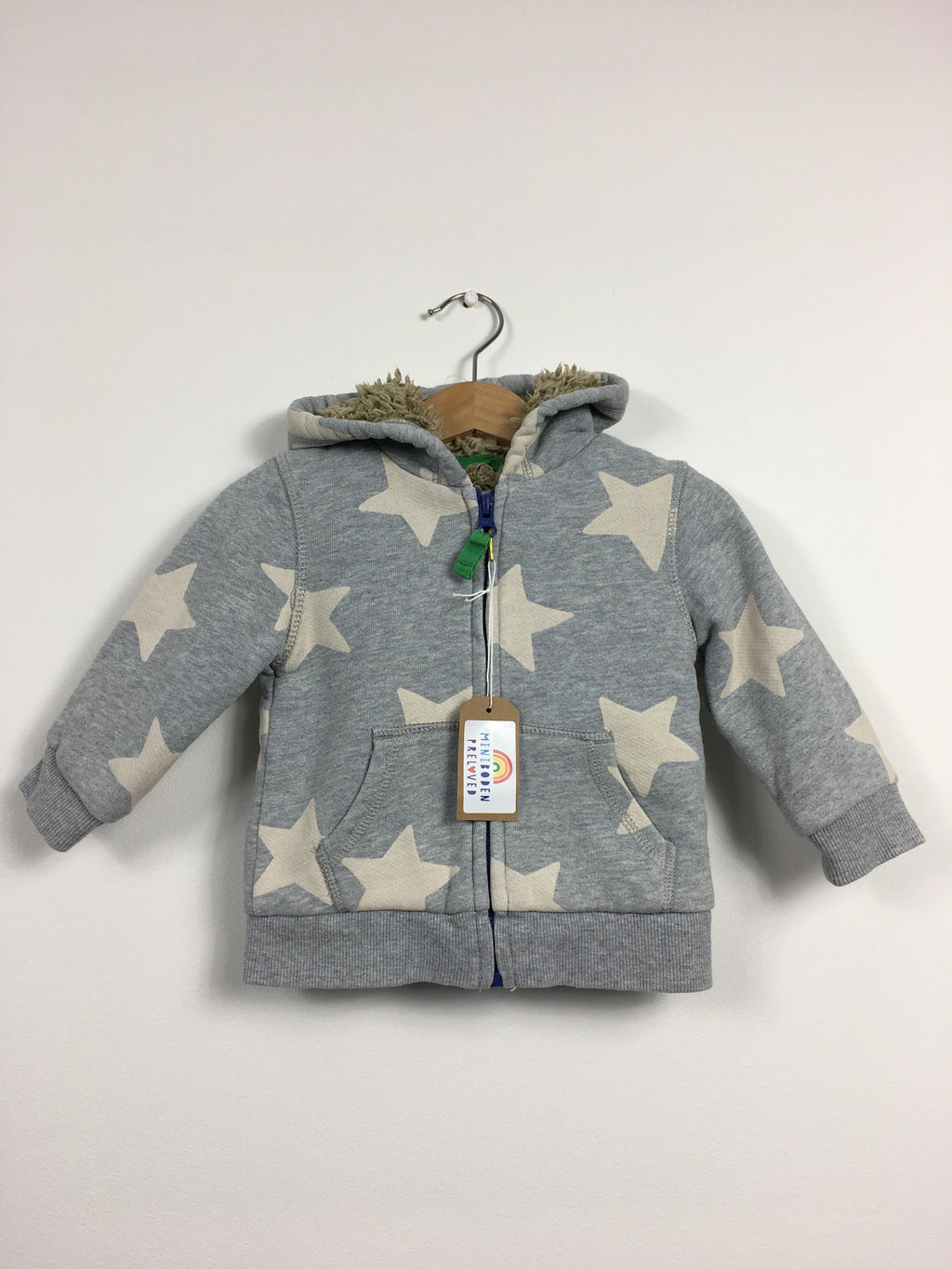 Hooded Shaggy Lined Star Print Jumper (Age 6-12 Months)