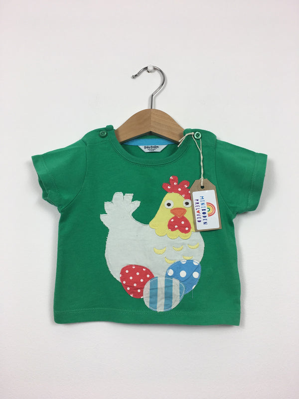 Green Applique Chicken T-Shirt (0-3 Months)