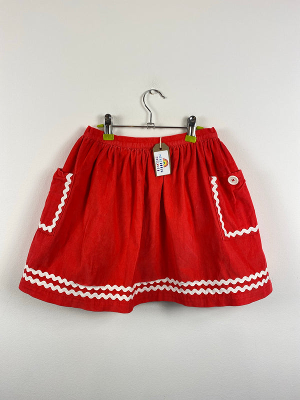 Vibrant Red Cord Skirt (9-10 Years)