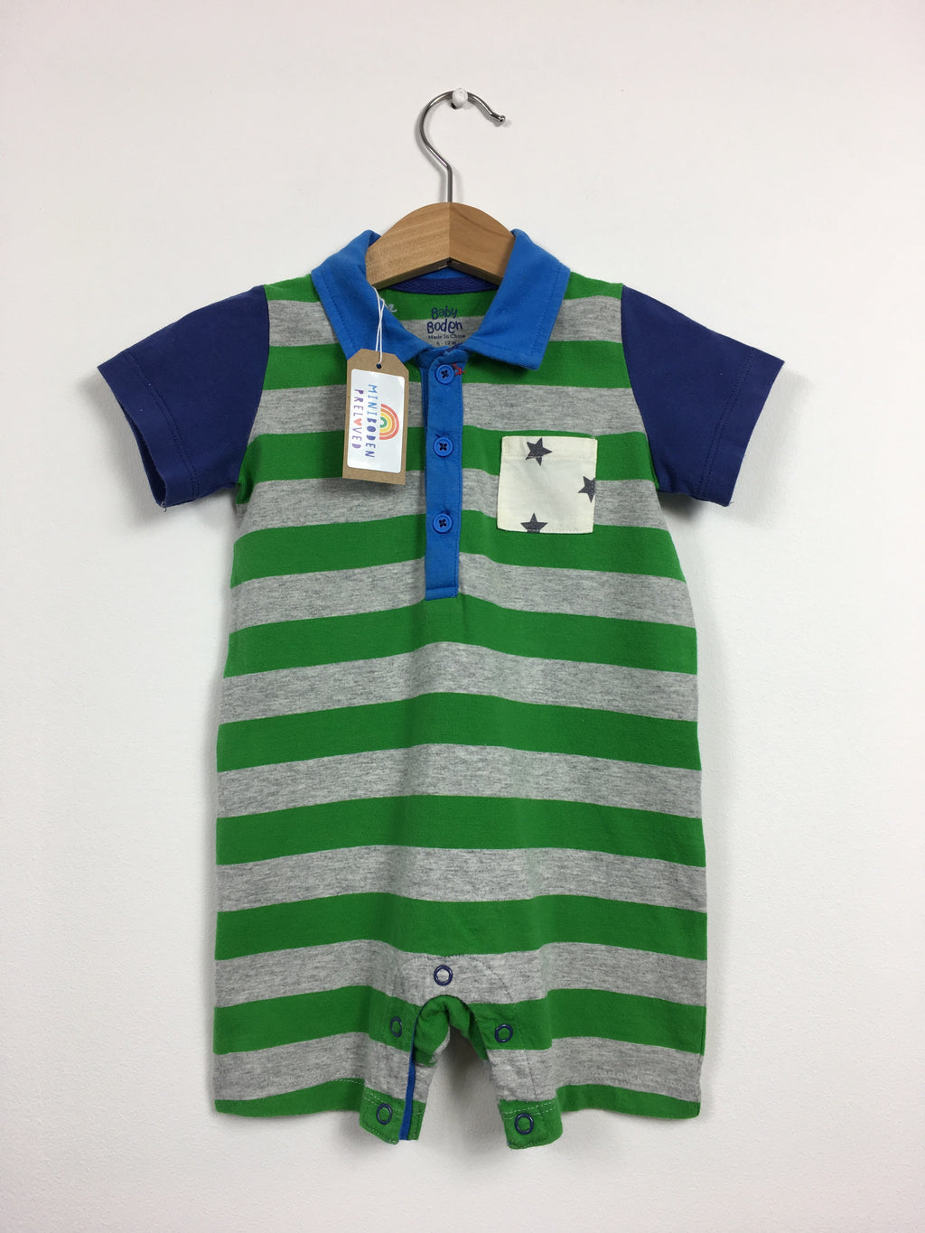 Stripy Green Shortie Romper (Age 6-12 Months)