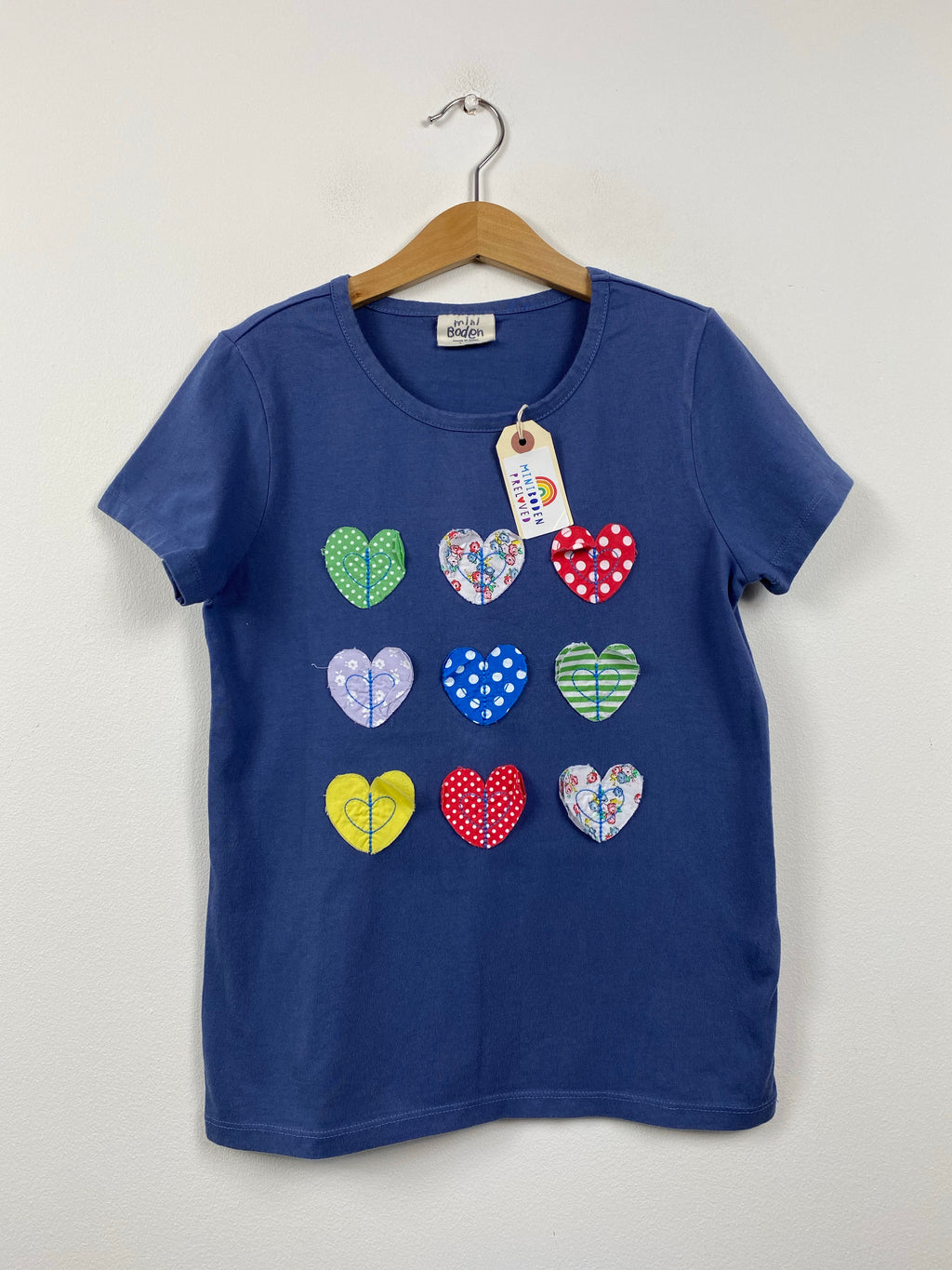 Navy Appliqué Hearts T-Shirt (9-10 Years)
