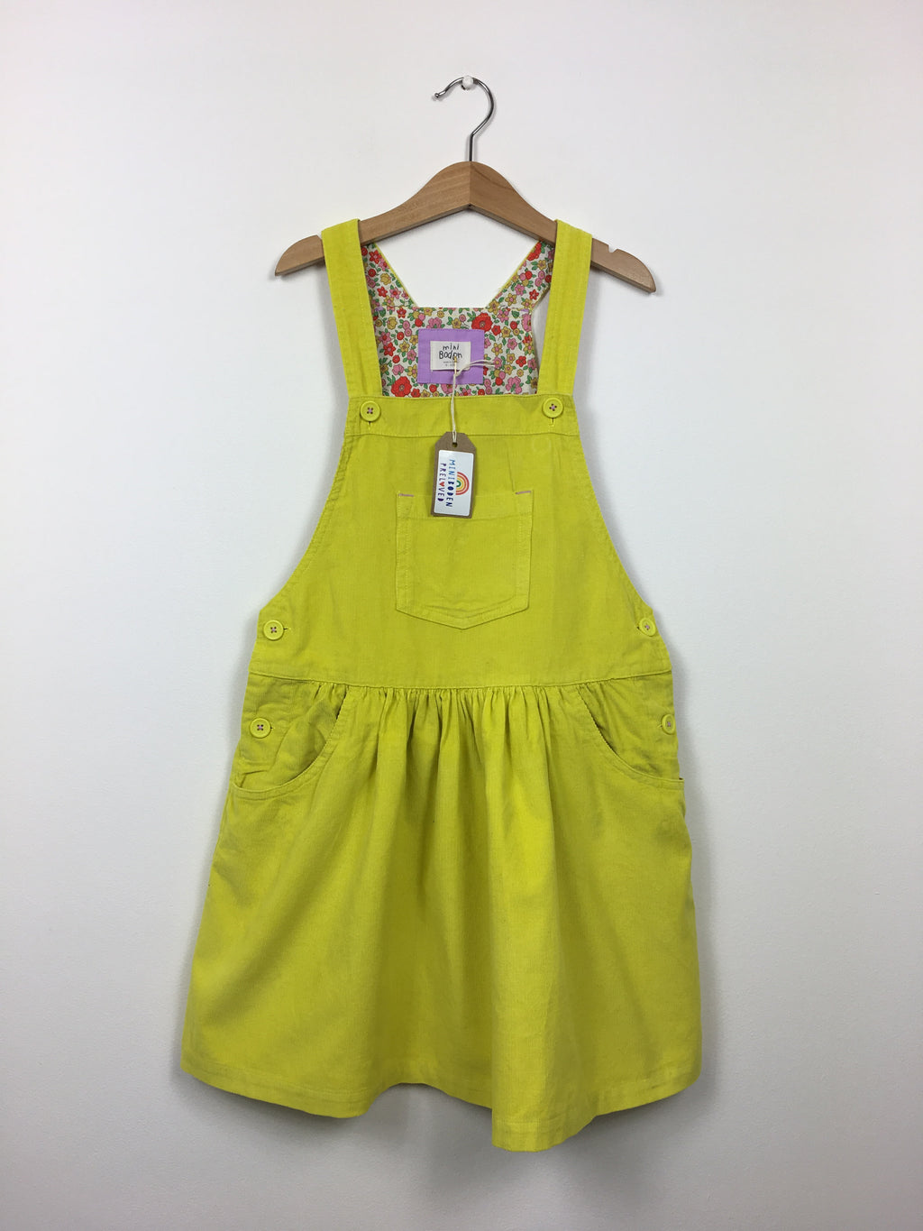 Beautiful Yellow Cord Dungaree Dress (9-10 Years)