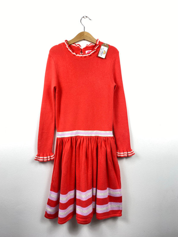 Beautiful Coral & Lilac Soft Knitted Dress (9-10 Years)