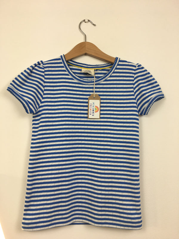 Blue & White Stripy Pointelle Top (7-8 Years)