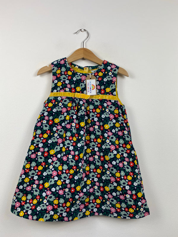 Dark Floral Cord Pinafore Dress (2-3 Years)