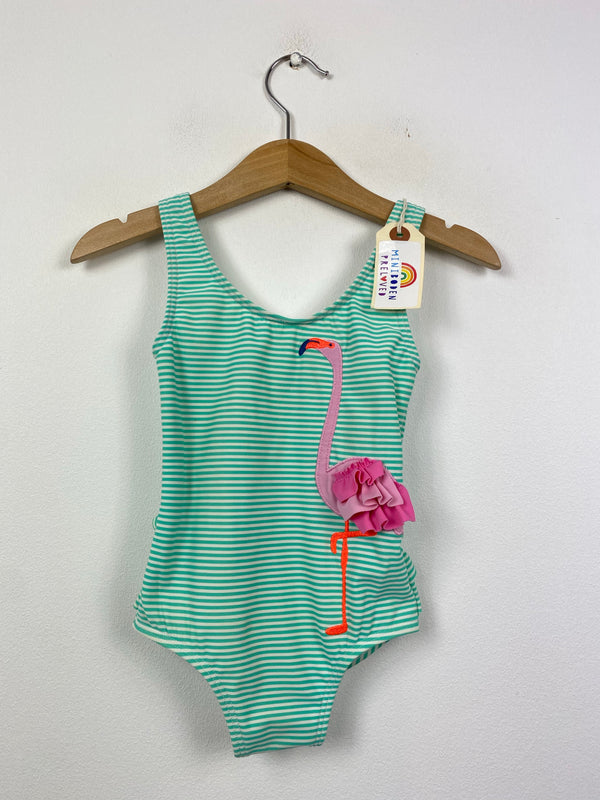 Appliqué Flamingo Green Stripy Swimsuit (18-24 Months)