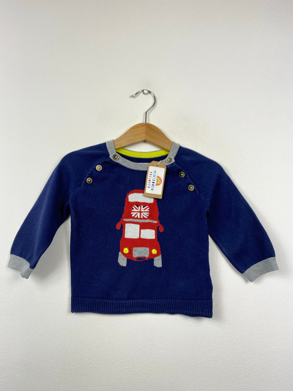 Navy Knitted Union Jack Bus Jumper (6-12 Months)