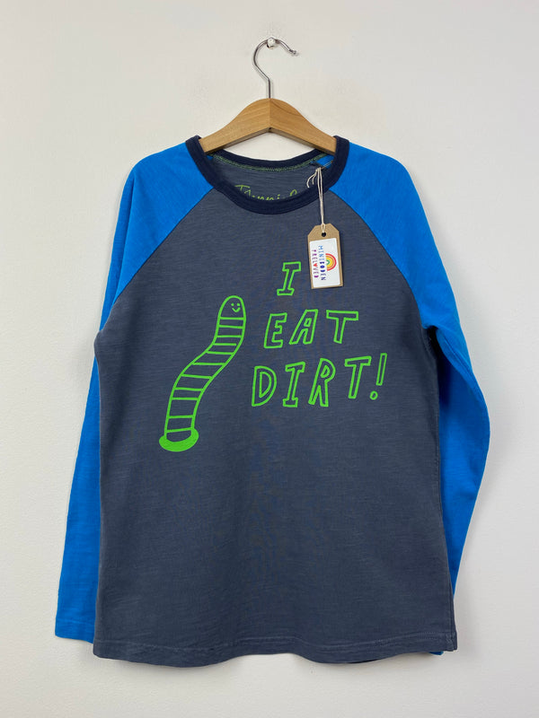 'Eat Dirt' Thick Cotton Raglan Top (9-10 Years)