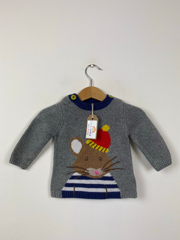 Winter Mouse Grey Knitted Jumper (3-6 Months)