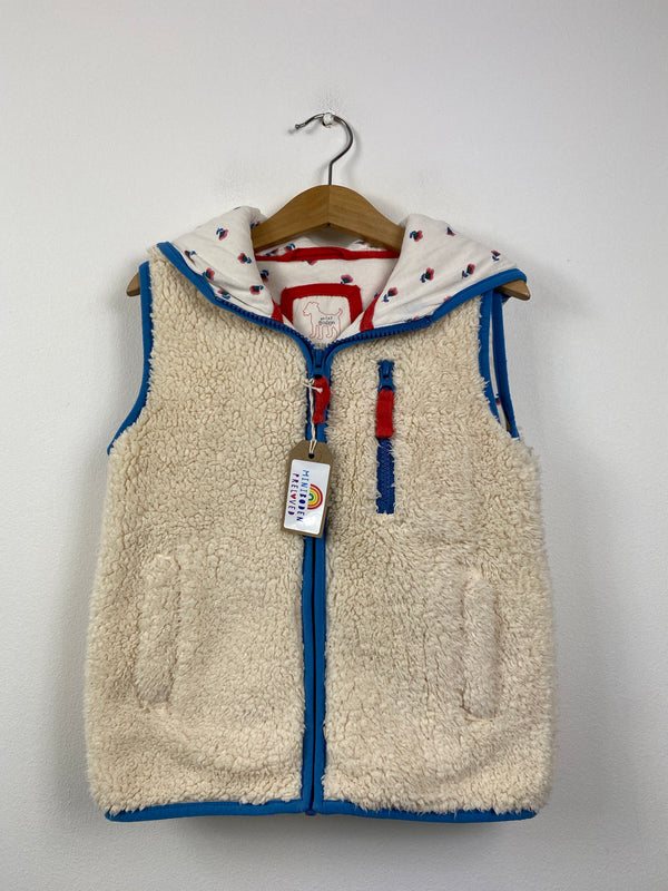 Floral Lined Cream Hooded Shaggy Gilet (7-8 Years)