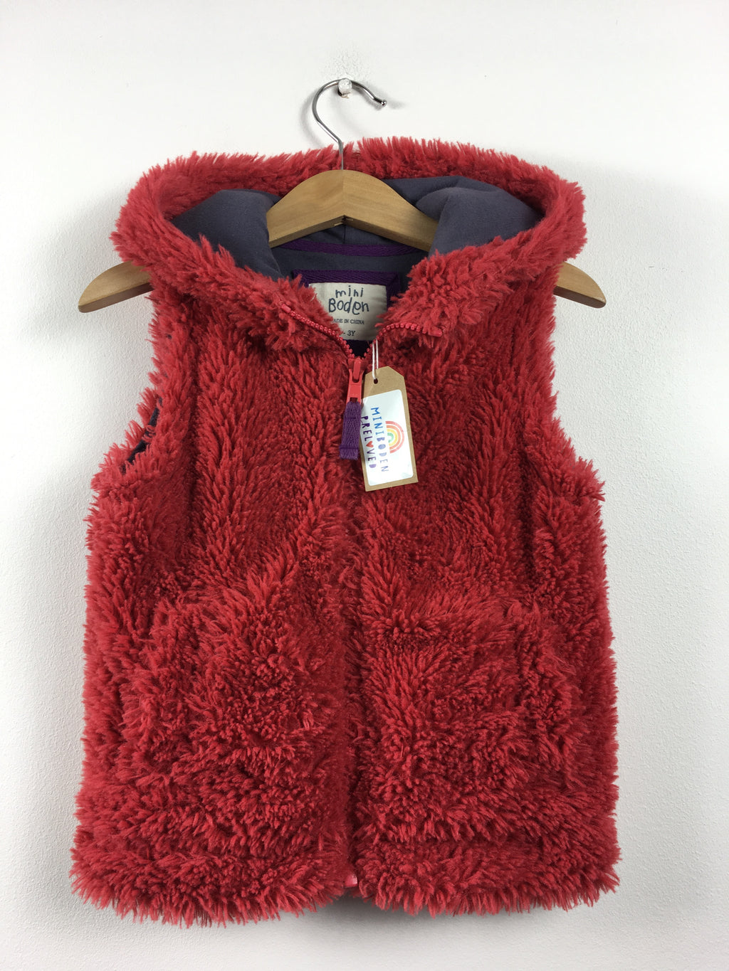 Burgundy Hooded Gilet With Navy Cotton Lining (2-3 Years)