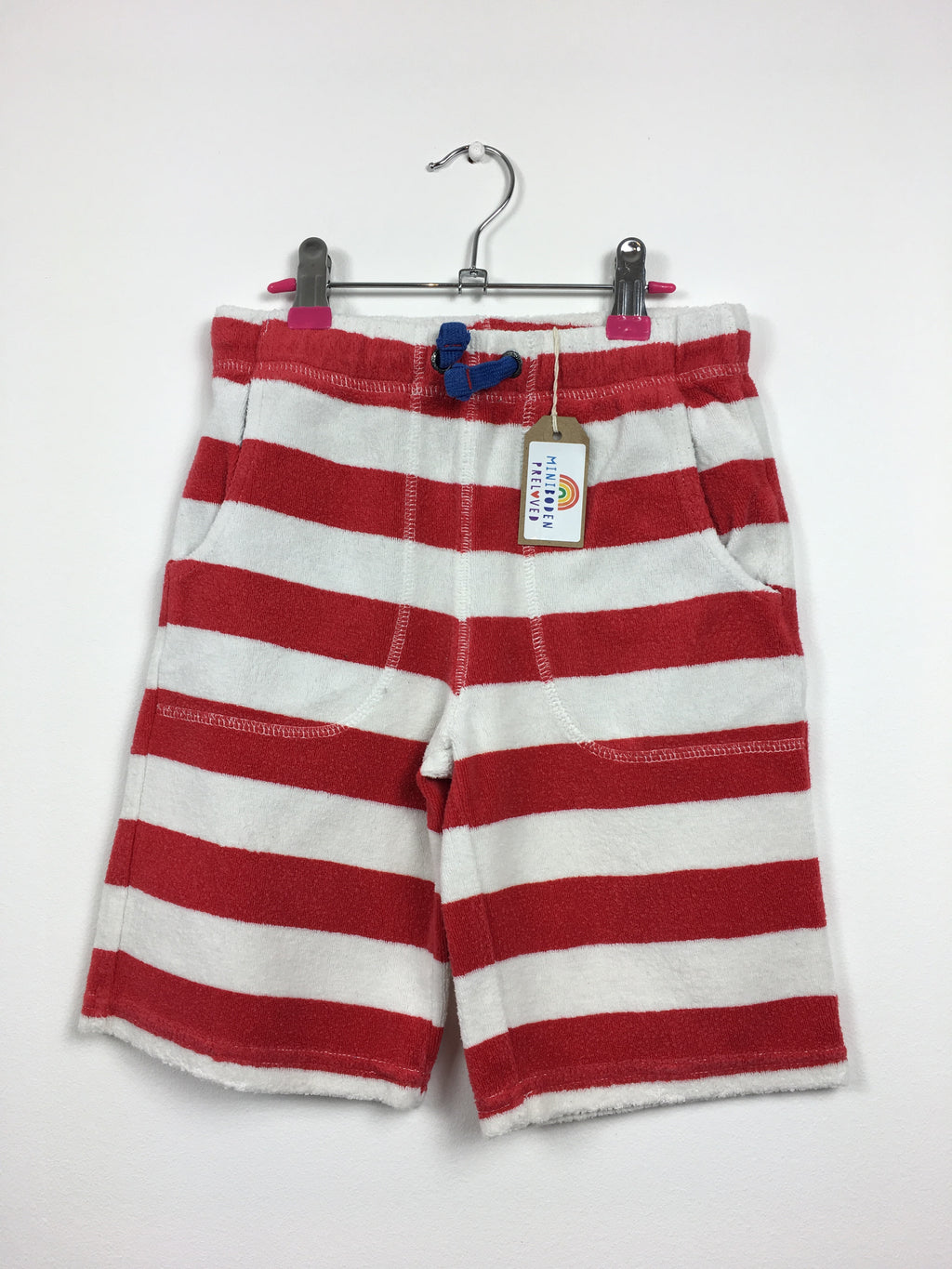 Red & White Stripy Towelling Shorts (7 Years)