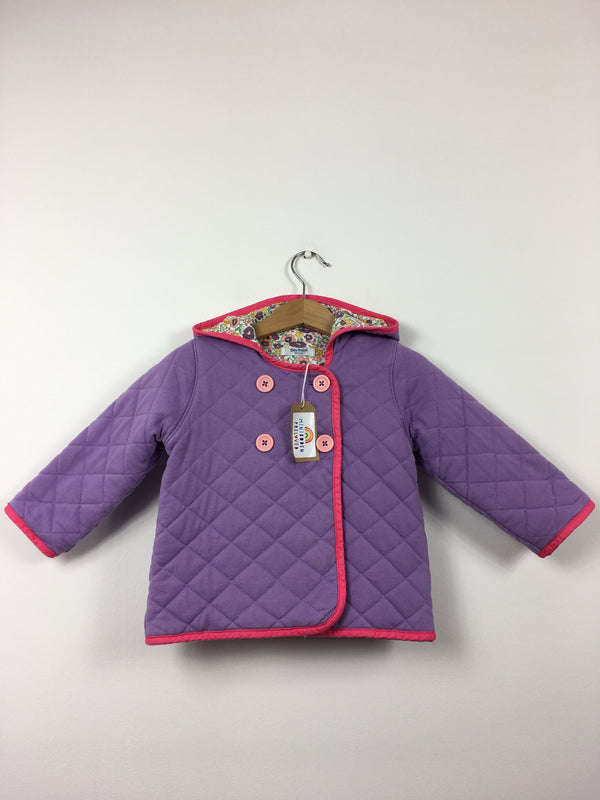 Lilac Quilted Hooded Jacket With Floral Lining (3-6 Months)