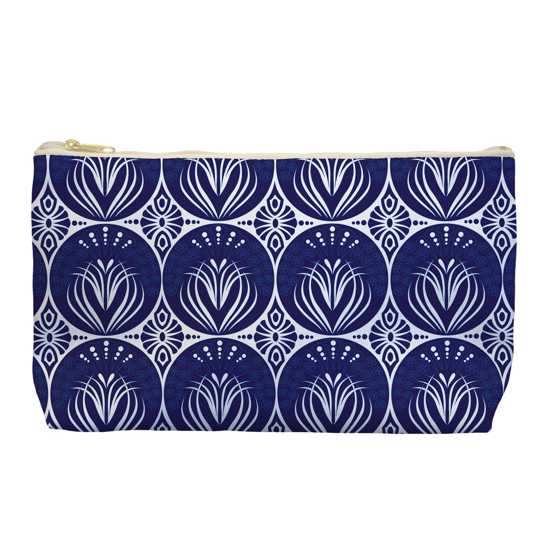 Art Nouveau in Dark Blue - Cosmetic Bag - Art By Catherine Davis