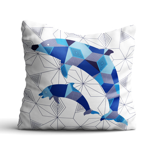 Pair Of Dolphins Geomal - Cushion - Art By Catherine Davis