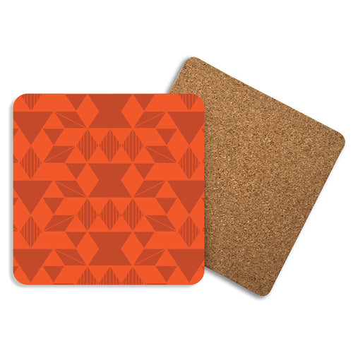 Geo In Orange - Coasters - Art By Catherine Davis