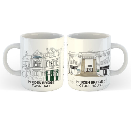 Hebden Bridge 'Town Hall' & 'Picture House' - Mug - Art By Catherine Davis
