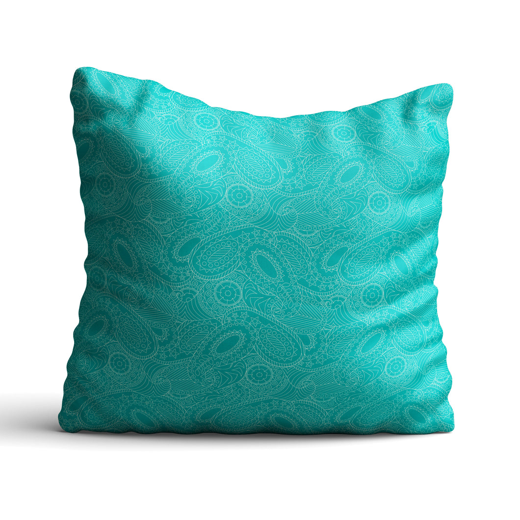 Paisley In Teal - Cushion - Art By Catherine Davis