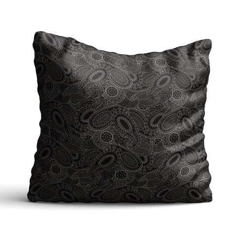 Paisley In Black - Cushion - Art By Catherine Davis