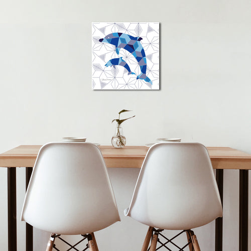Pair Of Dolphins Geomal - Premium Canvas - Art By Catherine Davis