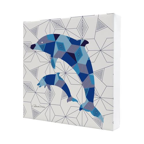 Pair Of Dolphins - Mini Canvas - Art By Catherine Davis