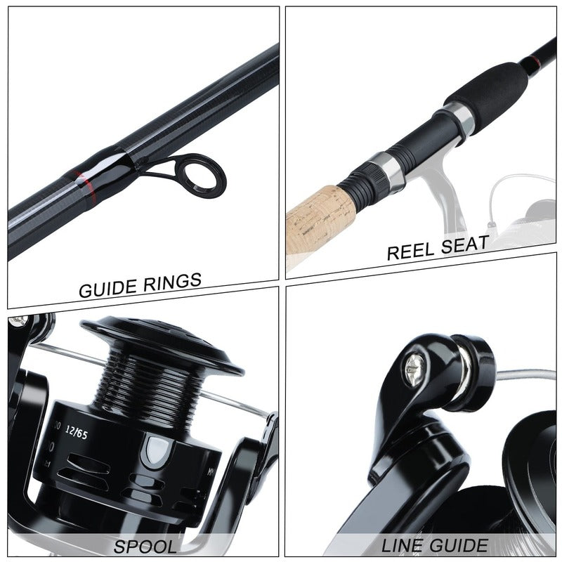 Sougayilang Spinning Fishing Combo Gear Ratio 5.2:1 (Black)