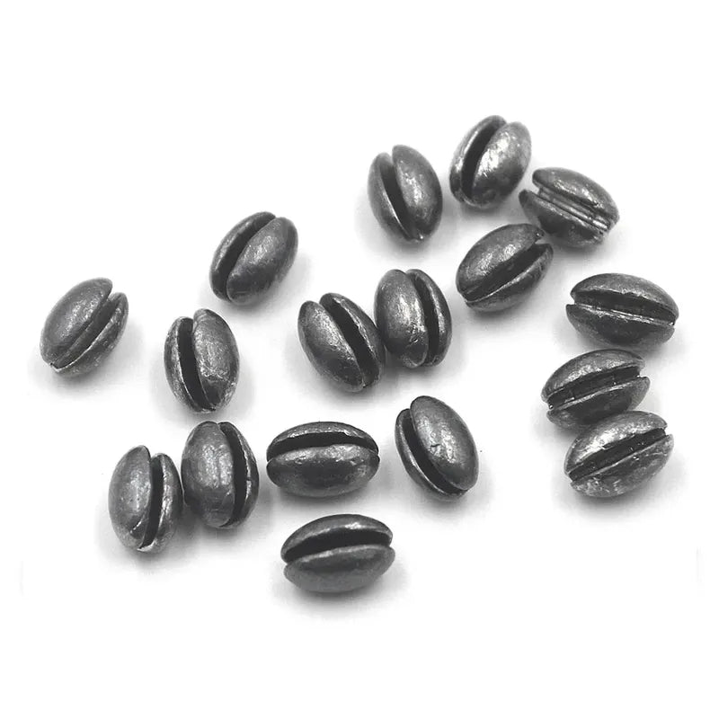 100pcs Oval Split Shot Lead Fishing Sinker