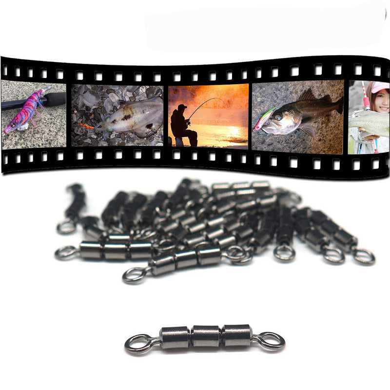 50pcs/Pack Fishing Rolling Swivels 3 Roller (Black)