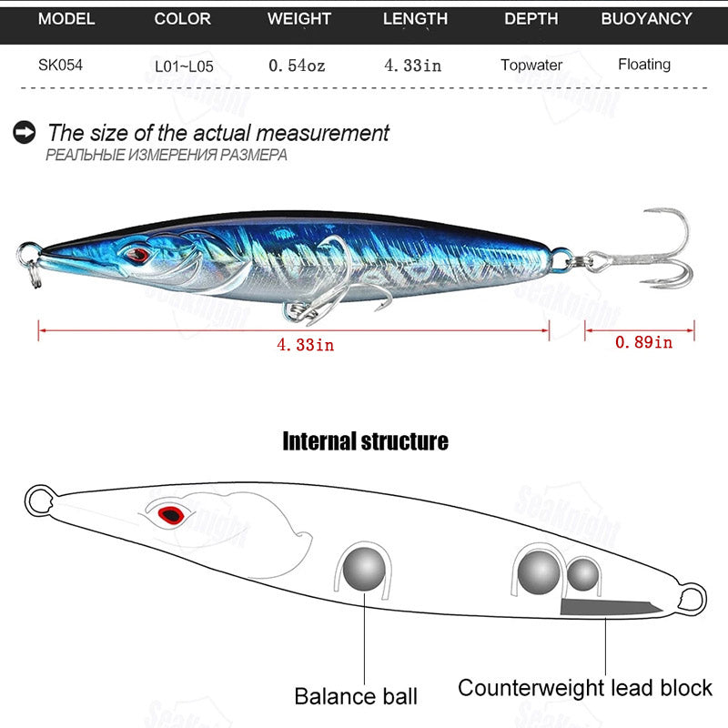 3D Pencil Fishing Lure