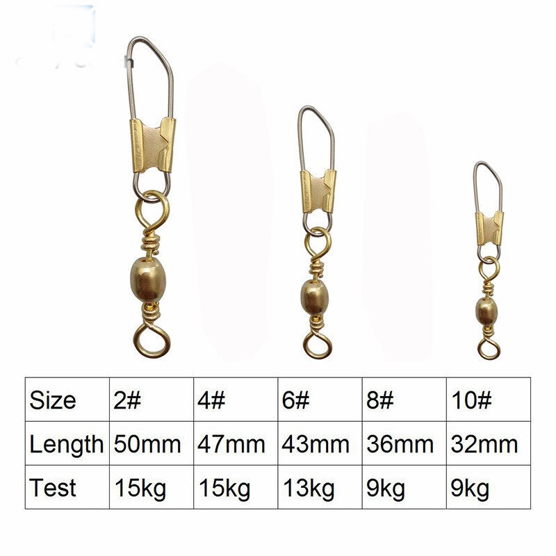 100pcs/Pack Fishing Barrel Swivels with Interlock Hook Clip Snap (Gold)
