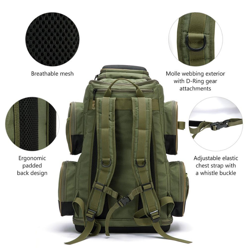 Bassdash Multifunctional  Polyester Fishing Tackle Backpack