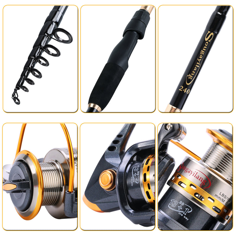 Sougayilang Spinning Combo 5.5:1 Gear Ratio