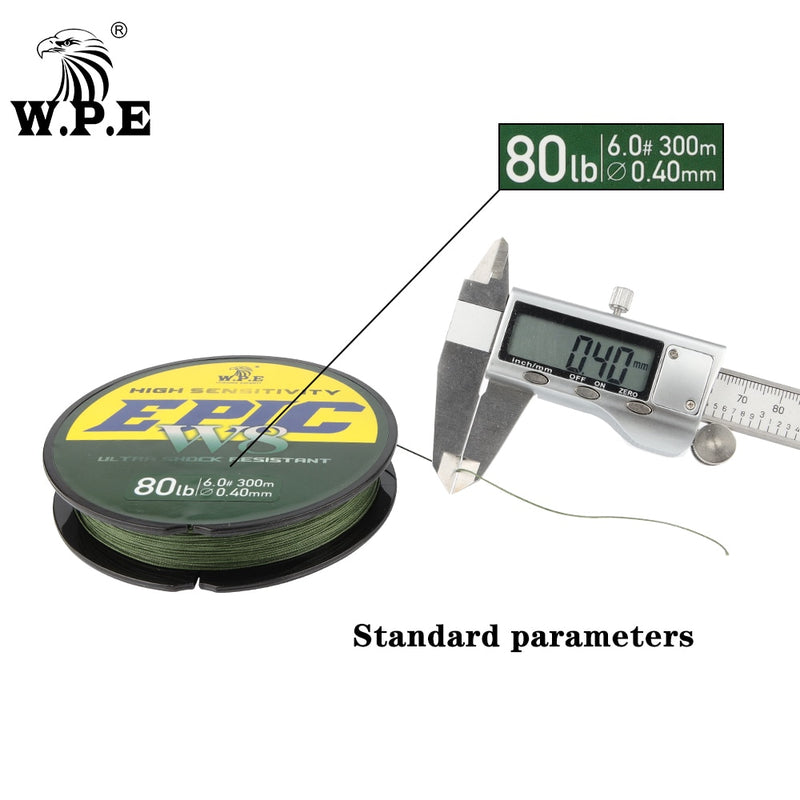 W.P.E 8 Strands  PE 300M  Braided Fishing Line