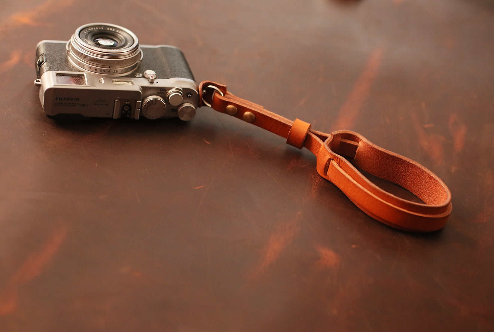 Thickened brown leather 12mm Handmade camera wrist strap band windmup