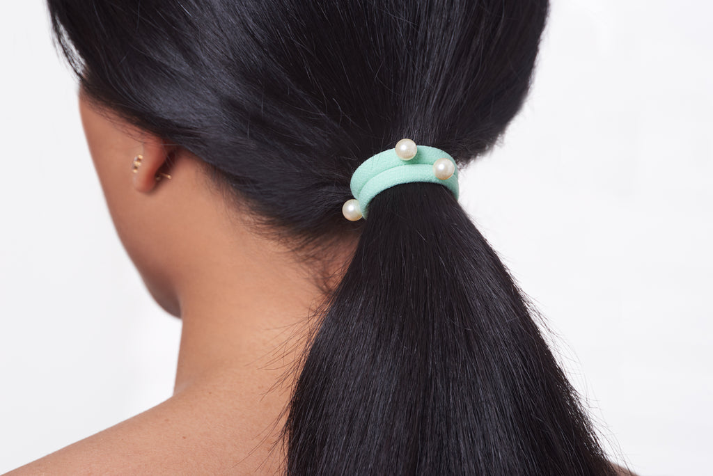 LIGHT GREEN PEARL HAIR ELASTIC