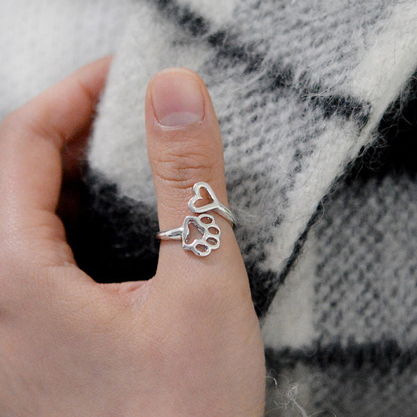 Adjustable Paw Print Ring - Elegant Shoppers