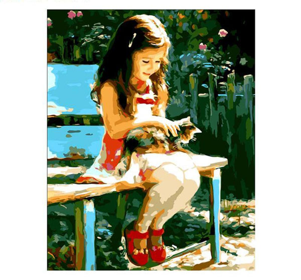 DIY Painting - Girl & Cat - Elegant Shoppers