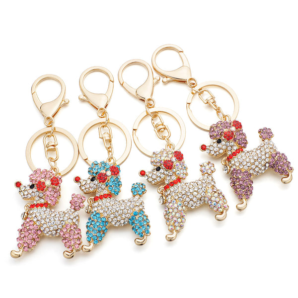 Bowknot Crystal Poodle Keychain