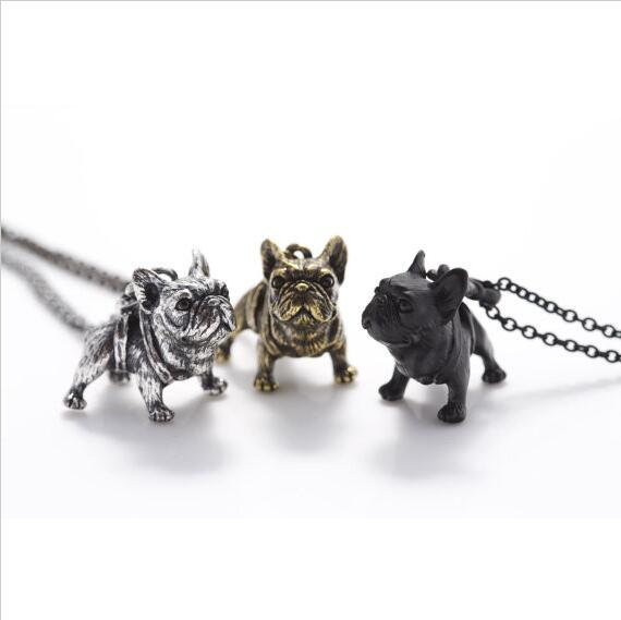 French Bulldog Necklace (gold, silver, black)